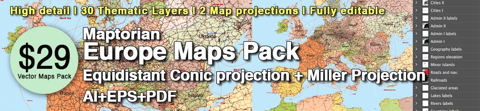 Europe vector maps