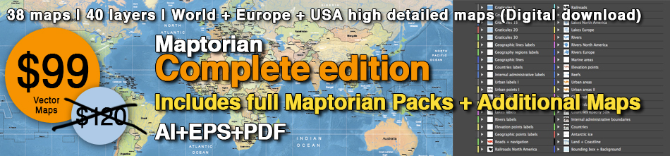 Maptorian Complete Edition. Vector maps. AI, EPS, PDF.
