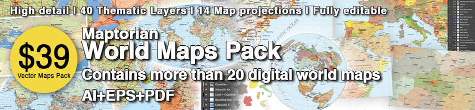 Maptorian World Maps Pack. Vector world maps.