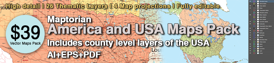 America And USA Vector Maps Pack Maptorian - Usa maps images