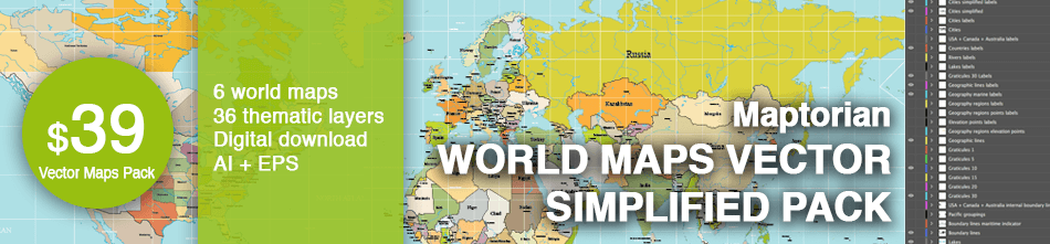World maps vector simplified