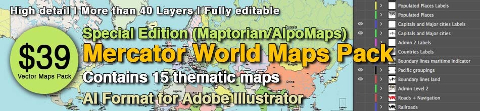 Mercator world vector maps