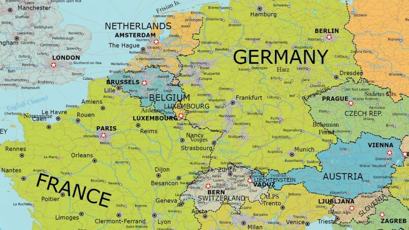 Detailed Map Of Germany.Detailed Vector Map Of Europe Maptorian