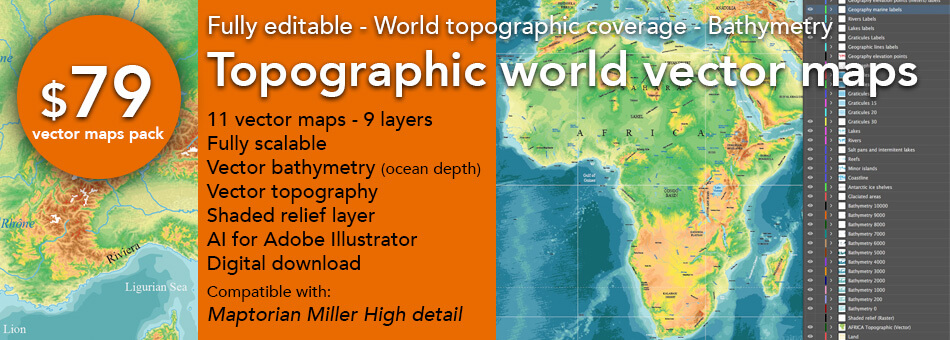 Topographic world vector maps maptorian these archives can be used as templates to create topographic maps of the world and it is also compatible with our maptorian miller projection world maps gumiabroncs Gallery
