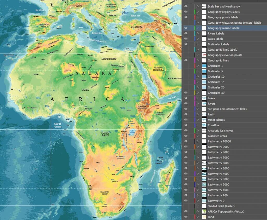 Topographic world vector maps – Maptorian
