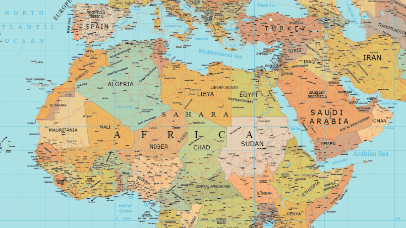 Map Of Africa Map.Africa And Middle East Layered Vector Map Maptorian