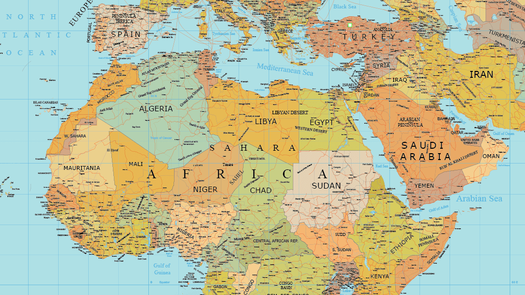 Africa And Middle East Layered Vector Map Maptorian