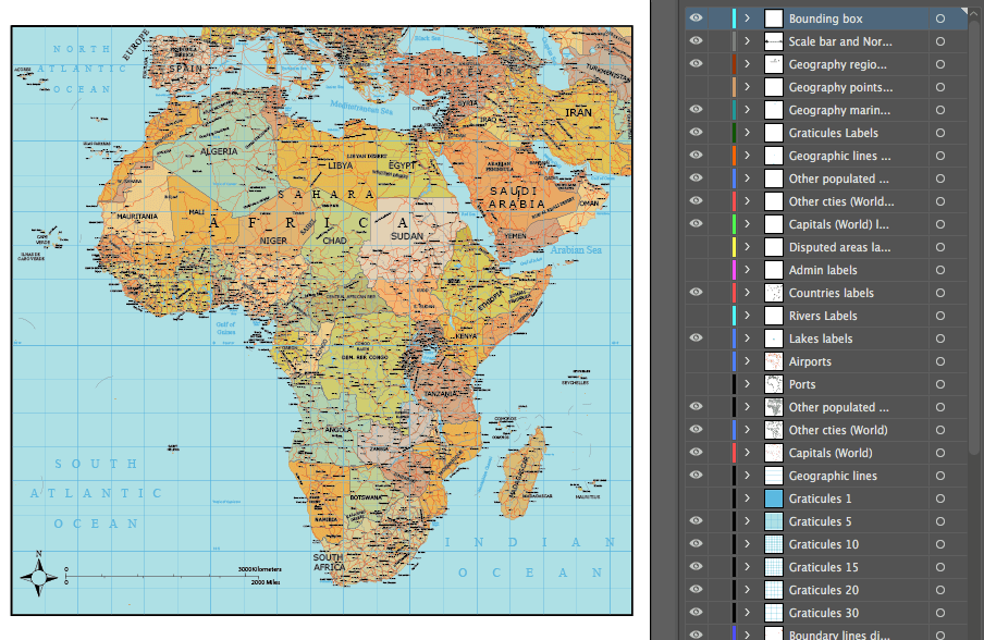 Africa and middle east layered vector map maptorian its only fair to share gumiabroncs Choice Image