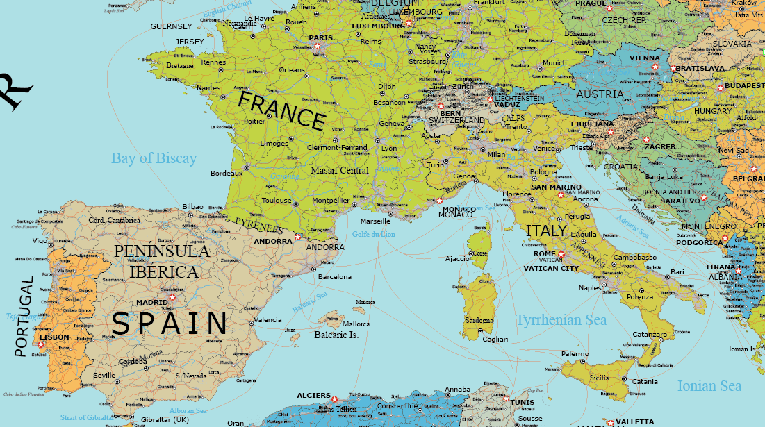 Detailed vector map of Europe – Maptorian