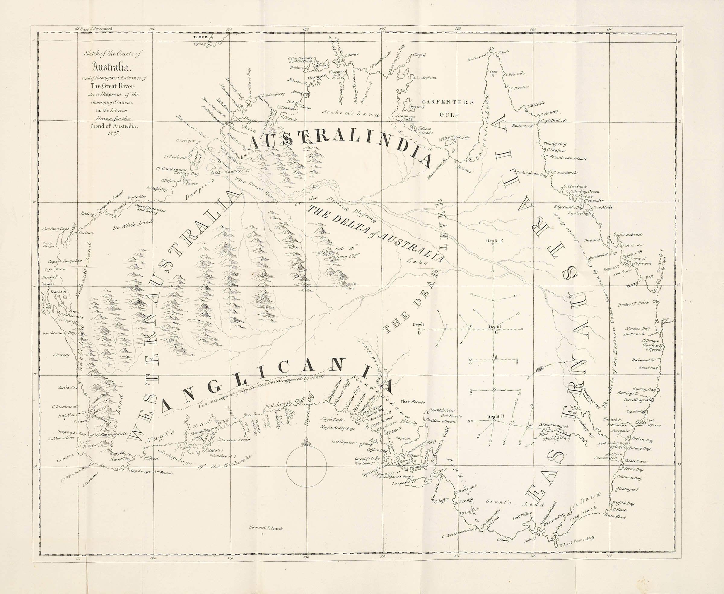 Map Of Australia 1830.An Imaginary Inland Sea In Australia Maptorian